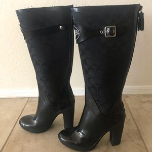 Coach high heel rain boots. Rare!